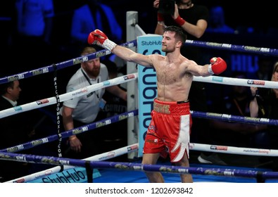Newcastle, Tyne and Wear, UK - October 13 2018: Anthony Fowler (red shorts) takes on Gabor Gorbics. Anthony Fowler won by 5th round TKO.