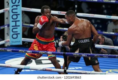 Newcastle, Tyne and Wear, UK - October 13 2018: Lawrence Osueke (black shorts) takes on Charles Adamu. Lawrence Osueke won on points.