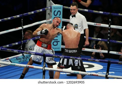 Newcastle, Tyne and Wear, UK - October 13 2018: Lewis Ritson takes on Francesco Patera (white shorts) for the vacant EBU European Lightweight title. Francesco Patera won by majority points decision.