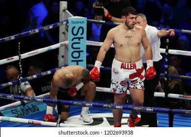 Newcastle, Tyne and Wear, UK - October 13 2018: David Allen takes on Samir Nebo. David Allen won by 1st round TKO.