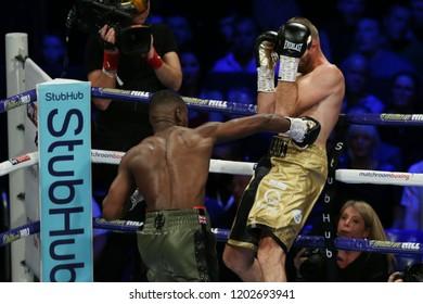 Newcastle, Tyne and Wear, UK - October 13 2018: Joshua Buatsi takes on Tony Averlant for the WBA International Light Heavyweight title . Joshua Buatsi won by 1st round KO.