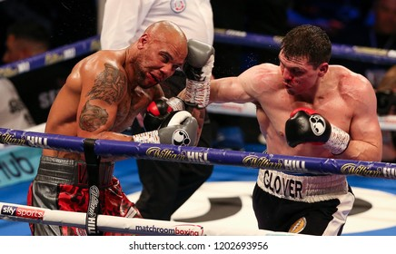 Newcastle, Tyne and Wear, UK - October 13 2018: Craig Glover (black shorts) takes on Simon Vallily in a British Cruiserweight Eliminator. Glover won by 8th round TKO.