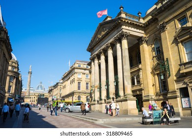 NEWCASTLE, UK, SEPTEMBER 12TH, 2015.  Theatre Royal, Newcastle.  Also known as Newcastle Theatre Royal.  The main theatre in city centre of Newcastle Upon Tyne. Grey's Monument in the distance.