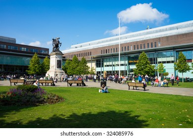 NEWCASTLE, UK, SEPTEMBER 15TH, 2015.  Old Eldon Square, public square on Blackett Street, Newcastle Upon Tyne. A war memorial is centre piece. The city's Remembrance Day commemoration is held here.