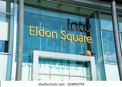 NEWCASTLE, UK, SEPTEMBER 15TH, 2015.  Sign at back entrance to Intu Eldon Square Shopping Centre, aka entrance from the grass square, also known as Old Eldon Square.  Located in Newcastle Upon Tyne.