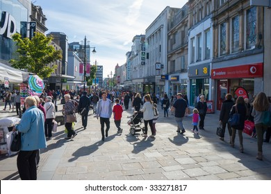 NEWCASTLE, UK, SEPTEMBER 15TH 2015. Northumberland Street, a major high street in the centre of Newcastle upon Tyne, North East of England. Most expensive location in UK outside of London to own shop.