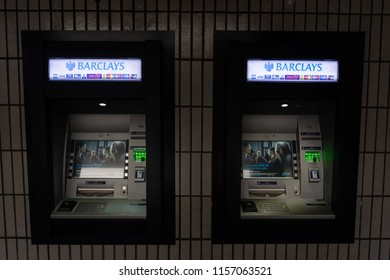 Newcastle Under Lyme, Staffordshire - 15th August 2018 - Barclays Bank cash points at night