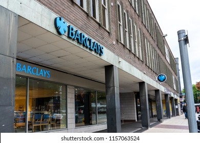 Newcastle Under Lyme, Staffordshire - 15th August 2018 - Barclays Bank on he high street near Stoke on Trent,