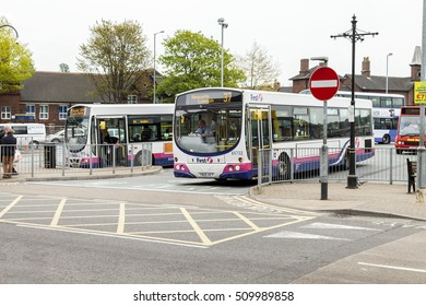 Newcastle under lyme United Kingdom - May 5, 2014 : English bus station, Local bus service in and around the city of  Newcastle under lyme ,Staffordshire, England.
