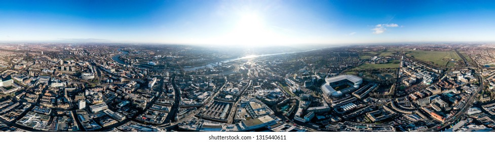 Newcastle upon Tyne Aerial 360 Panoramic Cityscape View in England, UK. Beautiful City Skyline and Famous Landmarks, Central Downtown Urban Buildings feat. Wide Panorama on a Sunny Day.