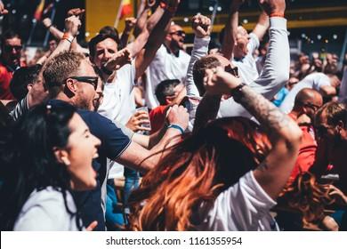 Newcastle Upon Tyne, England - 18 06 2018 : English Football fan Russia World Cup 2018 Newcastle Fan Zone England vs Panama