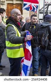 NEWCASTLE UPON TYNE, ENGLAND, FEBRUARY 28, 2015. European 'Anti-Islamisation' group PEGIDA, holds first UK demonstration. Sunday February 28, 2015. Newcastle Upon Tyne. England,