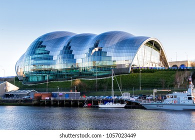 NEWCASTLE UPON TYNE, ENGLAND - JANUARY 28, 2018: The Sage Gateshed is a centre for musical education, performance and conferences, located on the south bank of the River Tyne.