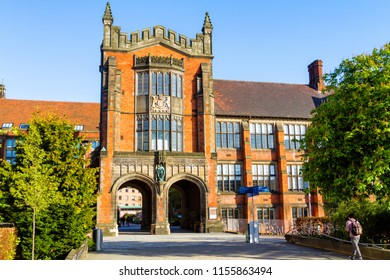 NEWCASTLE UPON TYNE, ENGLAND - MAY 3, 2018: Front view of Newcastle University campus.