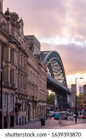 Newcastle Upon Tyne, England - November 10 2019: Classical Georgian architecture of Grainger Town, Newcastle upon Tyne, with the famous Tyne Bridge in the background