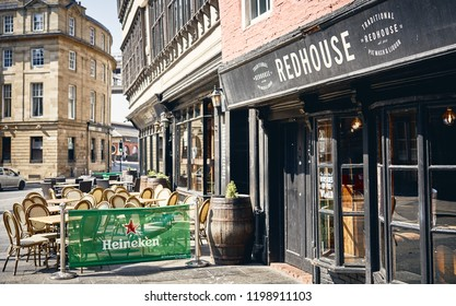 NEWCASTLE UPON TYNE, ENGLAND, UK - MAY 08, 2018: The traditional alehouse, Redhouse, part of Newcastle Quaysides pubs and eateries.