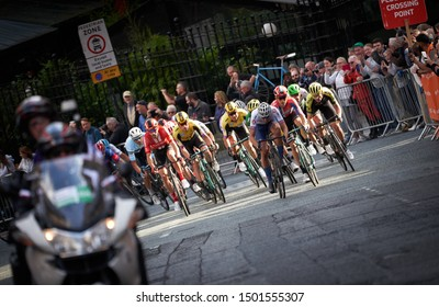 NEWCASTLE UPON TYNE, ENGLAND, UK - SEPTEMBER 09, 2019: Ethan VERNON (Team GB), Dylan Groenewegen (Jumbo-Visma, stage winner) approaching the finishing line of Stage 3 of the Tour of Britain.