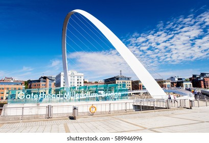NEWCASTLE UPON TYNE, ENGLAND, UK - AUGUST 13, 2015: Gateshead's Millennium Bridge