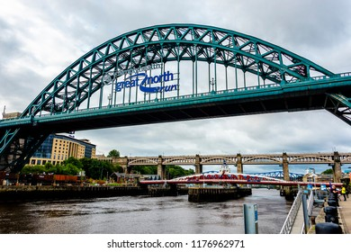 Newcastle upon Tyne, England / United Kingdom - August 27 2018: Tyne Bridge along Tyne River, distinctive architectural with close-up details and surrounding landscape