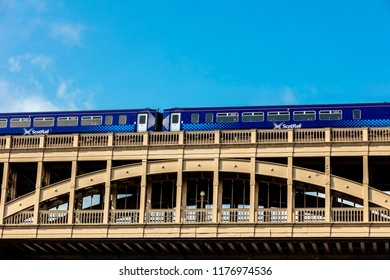 Newcastle upon Tyne, England / United Kingdom - August 27 2018: High Level Bridge road and railway bridge along Tyne River, distinctive architectural with close-up details and surrounding landscape