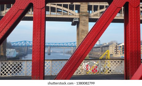 Newcastle Upon Tyne, England, United Kingdom. April 5, 2019. The High and Queen Elizabeth II bridges from Swing bridge