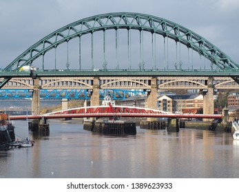 Newcastle Upon Tyne, England, United Kingdom. April 5, 2019. The bridges over the river Tyne at different levels (Tyne, High, Swing and Queen Elizabeth II bridges)