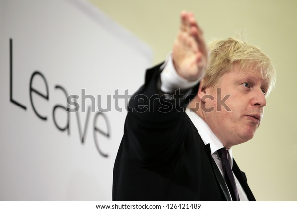Newcastle Upon Tyne, TYNE AND WEAR/UK - APRIL 16th 2016 - Mayor of London Boris Johnson speaking at a vote leave rally in Newcastle Upon Tyne, UK, on April 16th 2016.