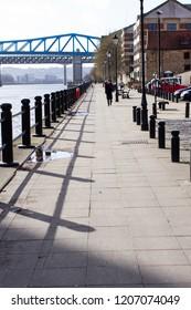 Newcastle upon Tyne/England - February 25th 2014: Newcastle Quayside walk way