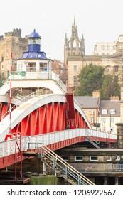 Newcastle upon Tyne/England - January 22nd 2014: Newcastle Swing Bridge Quayside