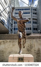 Newcastle Upon Tyne,England on 1st Aug 2018: Statue of Alan Shearer a English retired footballer. He played as a striker in the top level of English league football and record holder for Newcastle