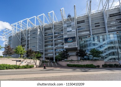 Newcastle Upon Tyne,England on 1st Aug 2018:St James Park footbal stadium is home to Newcastle United a English Premier League footbal team, the stadium has a capacity of 53000