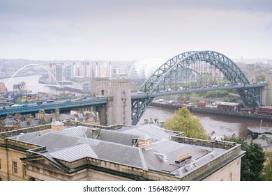 Newcastle/England - 6th October 2019: Veiw of a foggy rainy grey Newcastle Quayside from the top of the Newcastle Castle