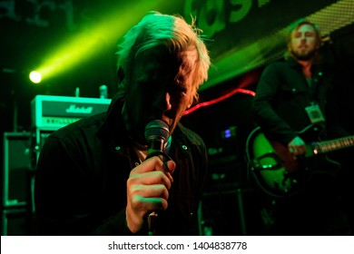 Newcastle/UK - 12th May 2019: Towers of London band Donny Tourette and Dirk Tourette on stage concert at Newcastle Riverside
