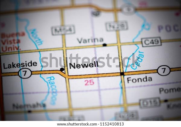 Newell. Iowa. USA on a map