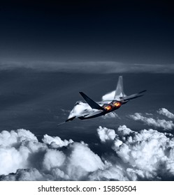 The newest in military war technology flying over the clouds