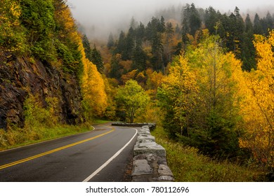 Newfound Gap Road in Great Smoky Mountains National Park in Autumn