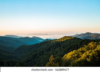 Newfound Gap, Tennessee - September 30, 2016: An early morning view of The Great Smoky Mountains in Newfound Gap, Tennessee on September 30, 2016.