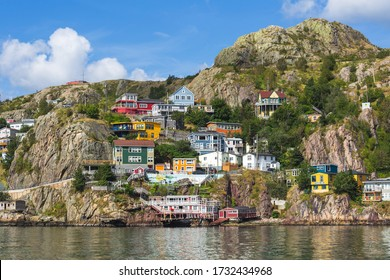 [Newfoundland, Canada - Aug 2020] 'The Battery' a neighbourhood in St. John's, Newfoundland, Canada, seen from across St. John's Harbour in the summer.
