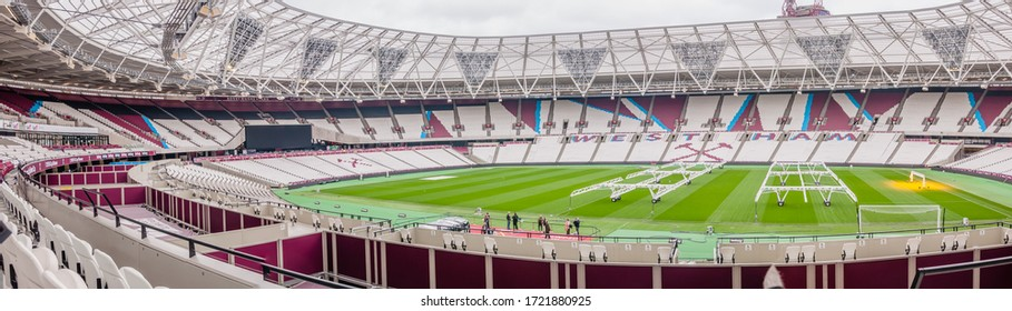 Newham, London, England, UK - 25 February 2017:  Pano,The London Stadium at the Queen Elizabeth Olympic Park branded as the home of West Ham United Football Club