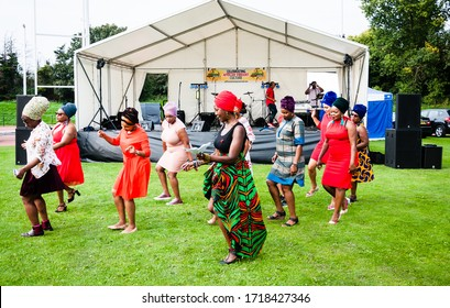 Newham, London, England, UK - 26 August 2017: Females performing dance spectacular, at Afrikan Cultural Festival, Newham, London, England, UK