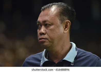 Newin Chidchob club president of Buriram United during Toyota Thai League 2017 match between Buriram United and SCG Muangthong United at i-mobile stadium on April 3,2017 in Buriram,Thailand.