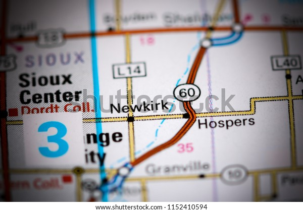 Newkirk. Iowa. USA on a map