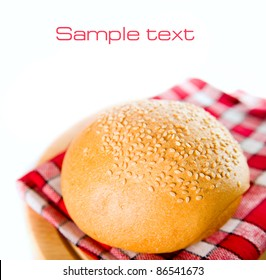 newly baked bread on a white background