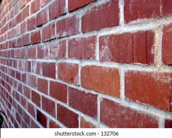 Newly built brick wall at angle view.