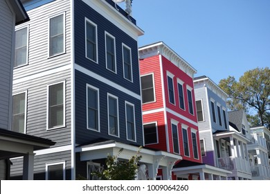 Newly built colorful homes near downtown Raleigh NC