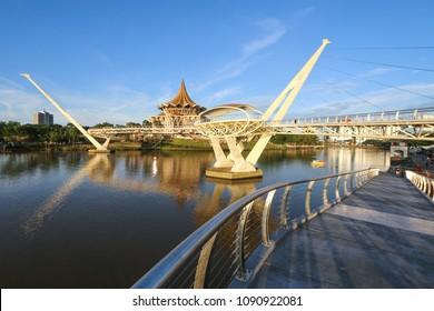 The newly built Darul Hana bridge in Kuching, Sarawak, Malaysia