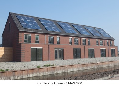 Newly built family home with solar panels on the roof.