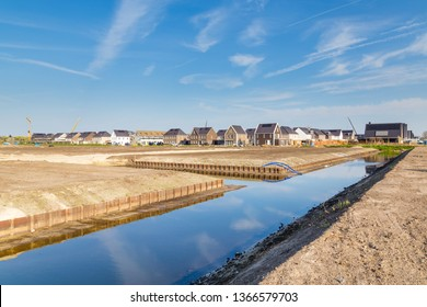 Newly built neighborhood  with canals called NIeuw Salamander  in a suburban area in Veenendaal in the Netherlands.