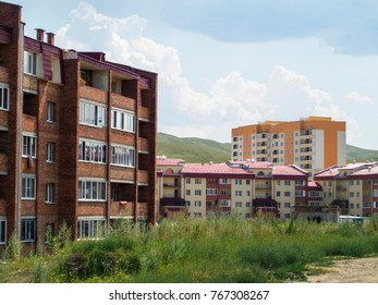 Newly built residential buildings. Central Asia