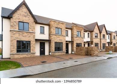 Newly built row houses for sale in Ireland on a Cloudy Winter Day